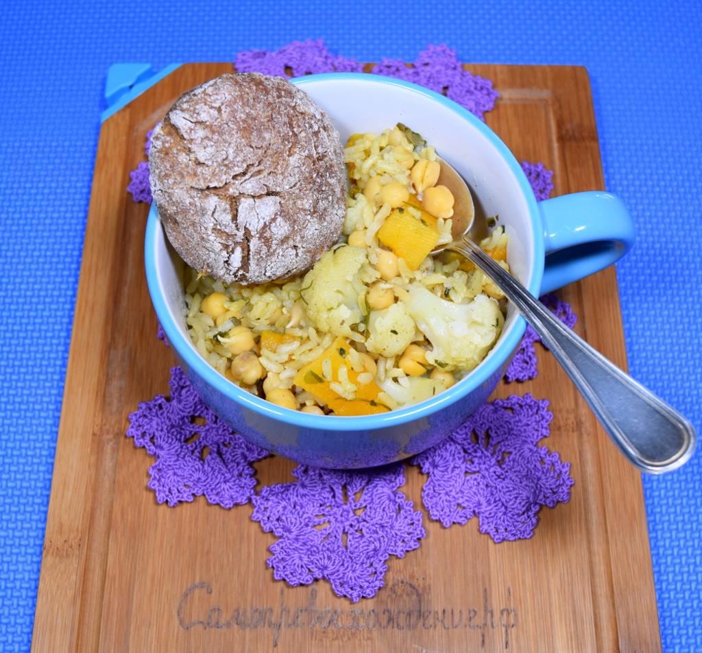 Рис с пророщенным нутом, тыквой и цветной капустой